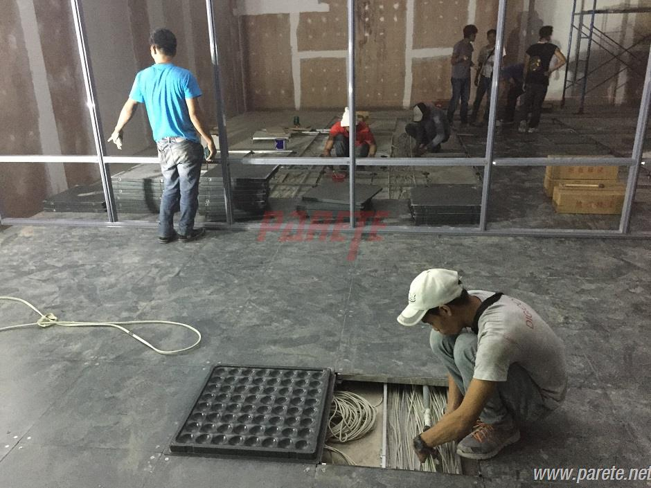raised floor  installation after cable trunk